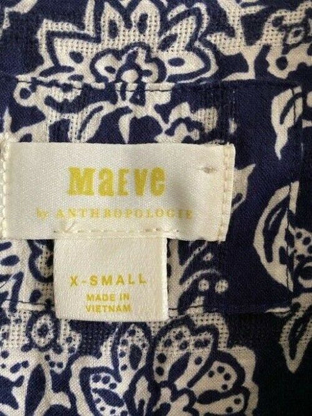 maeve navy white xs for anthropologie short casual dress