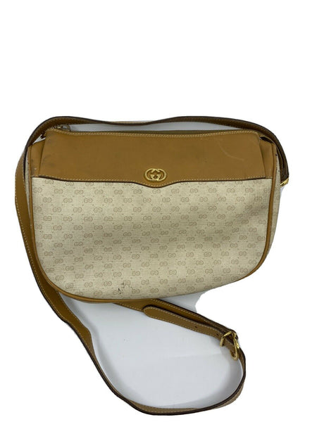 GUCCI Vintage Beige Coated Canvas/ Leather Crossbody