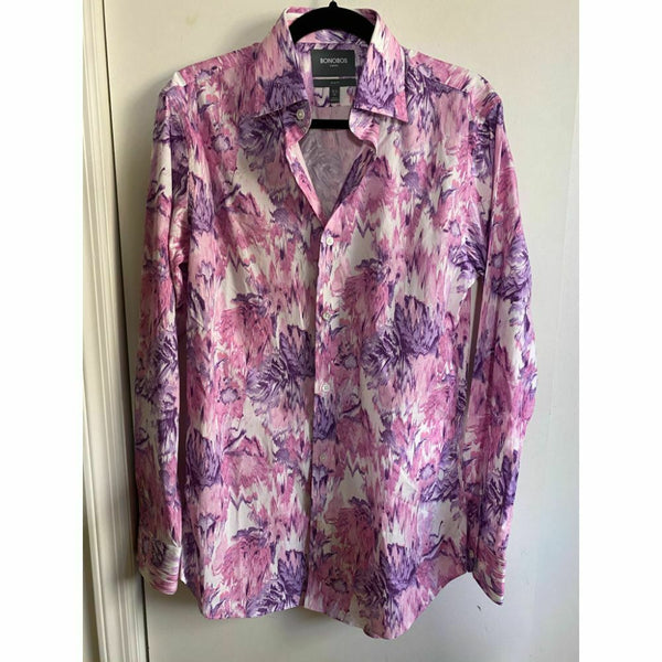 BONOBOS Pink Purple Printed Long Sleeve Button Down Shirt Size 15.5