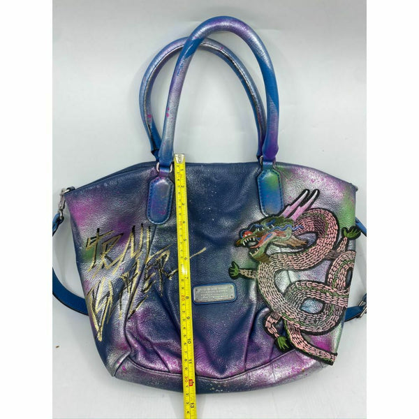MARC JACOBS Large Leather Tote Bag Customized w Dragon Applique and MultiColor