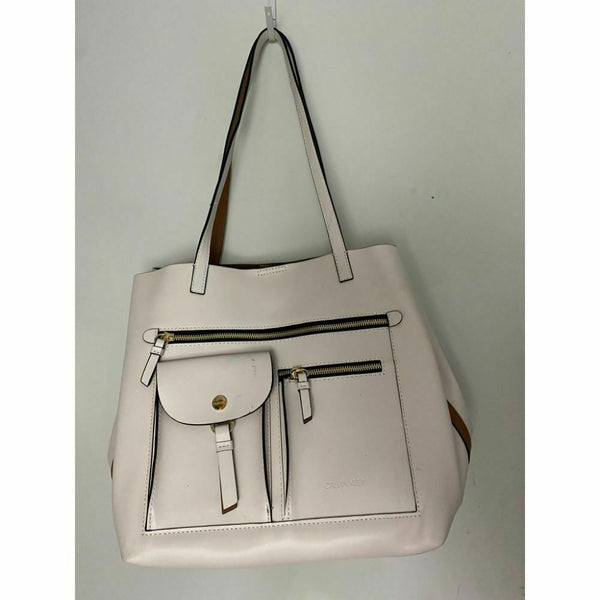 Calvin Klein Cream Leather Shoulder Bag