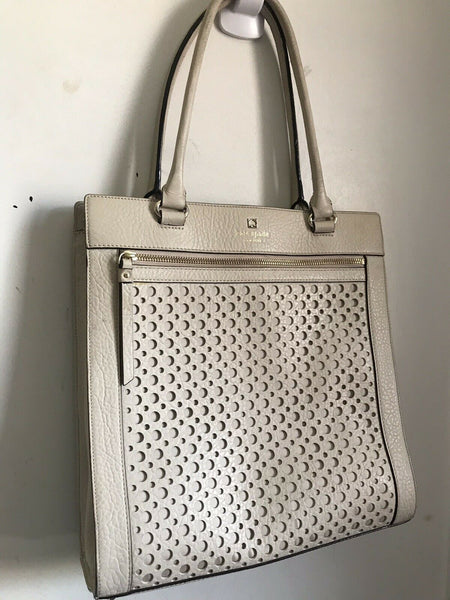 KATE SPADE Beige Laser Cut Design Handbag