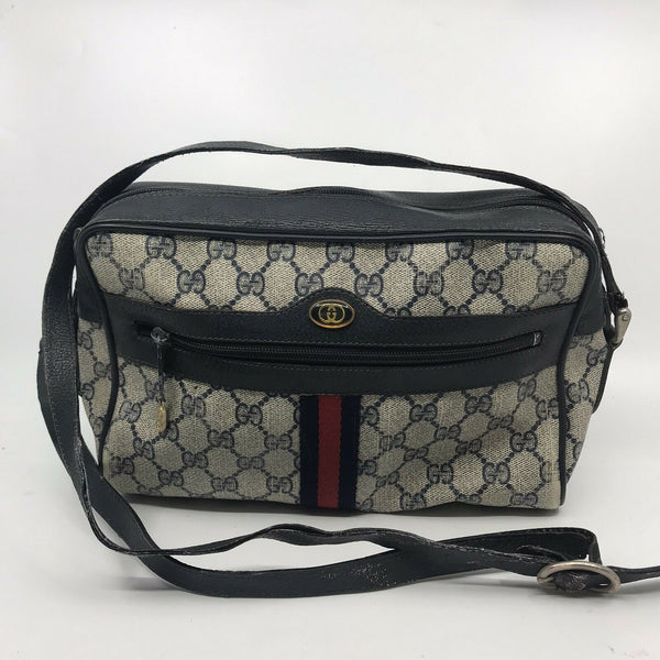 GUCCI Vintage Navy  Shoulder Bag All Over Signature