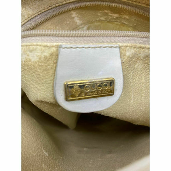 GUCCI White Canvas Signature Crossbody Bag