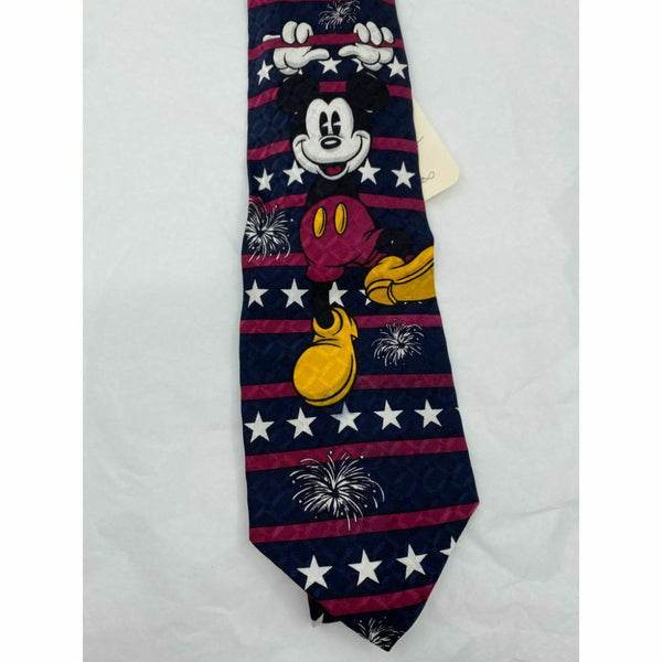MICKEY MOUSE Disney Neck Tie Blue Purple White Hand Made 100% Silk