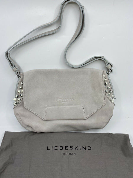 LIEBESKIND Grey Suede Leather Shoulder Bag