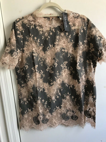 NWT! GRACIA Lace Top Sz Large
