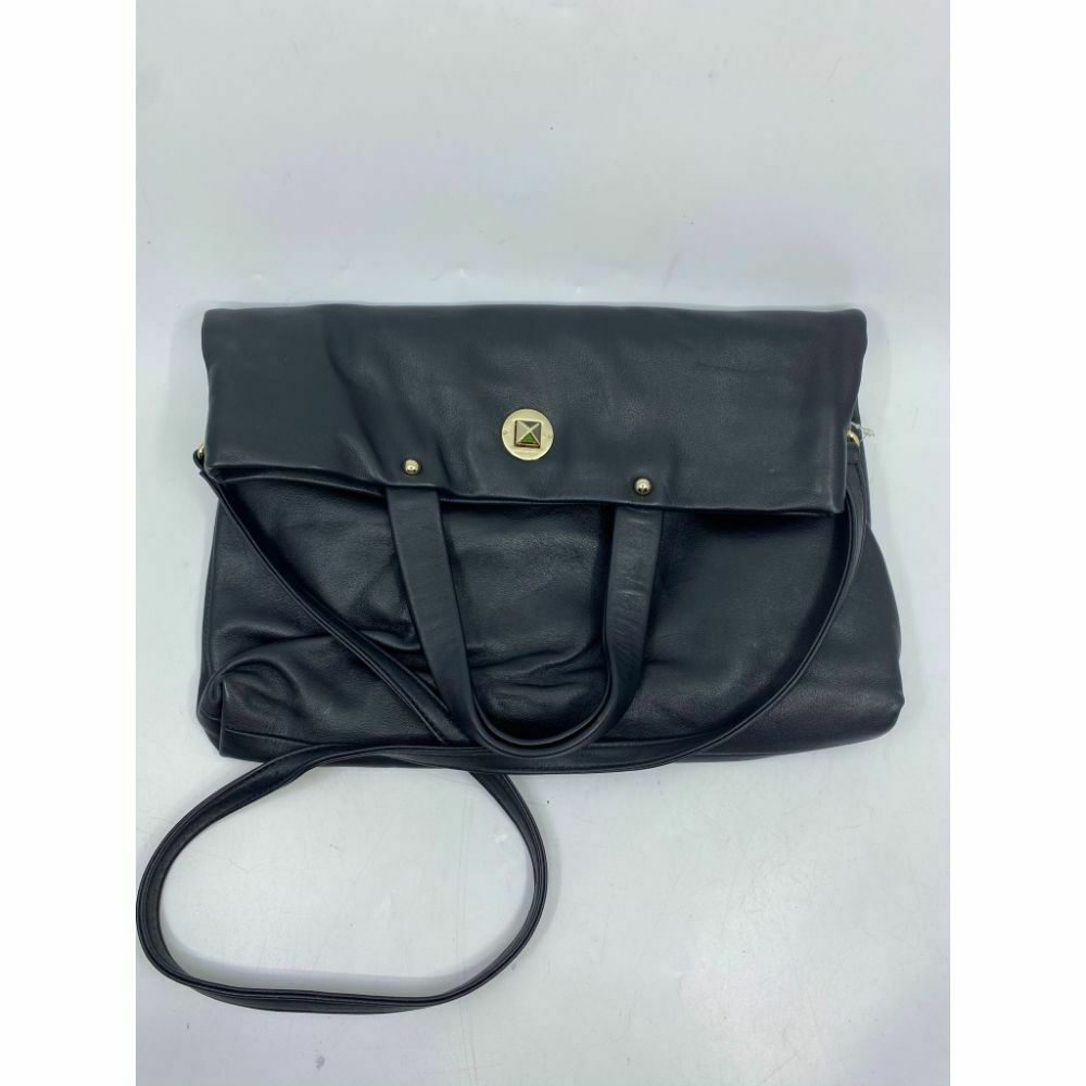 KATE SPADE Black Leather Fold Over Handbag/ Crossbody
