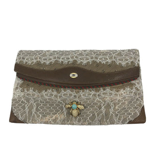 GUCCI Vintage Customized W Lace And Bee Brooch Clutch