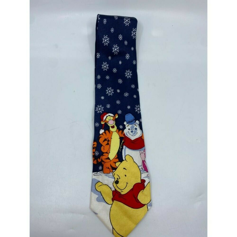 New! Winnie The Pooh Blue White Yellow Christmas Theme Neck Tie Msrp 35