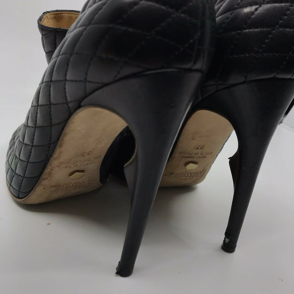 JEROME C ROUSSEAU Black Leather Quilted High Heel Boots 37