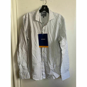 BONOBOS White Gray Printed Long Sleeve Button Down Shirt Size M