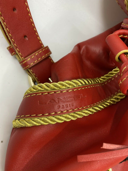 LANCEL Red leather bucket bag Customized W Divine heart Applique