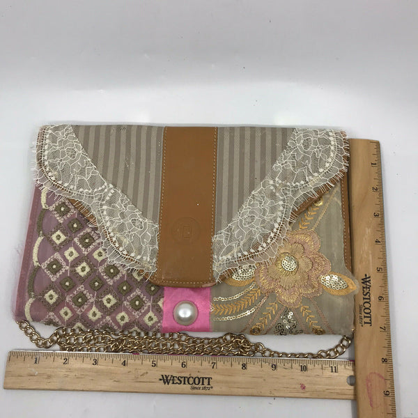 FENDI Vintage Customized Crossbody/ Clutch  W/ Lace And appliqués