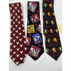 New Lot of 3 Neck tie Disney, Looney Tunes Black Red White Total Msrp 75
