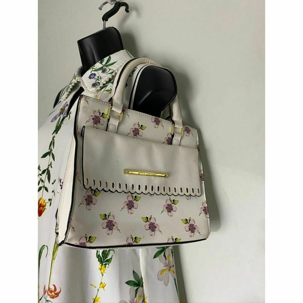 BETSEY JOHNSON Faux Leather White Embellished Tote Bag