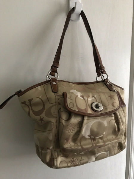 COACH Khaki Medium/Large Satin Monogram Tote
