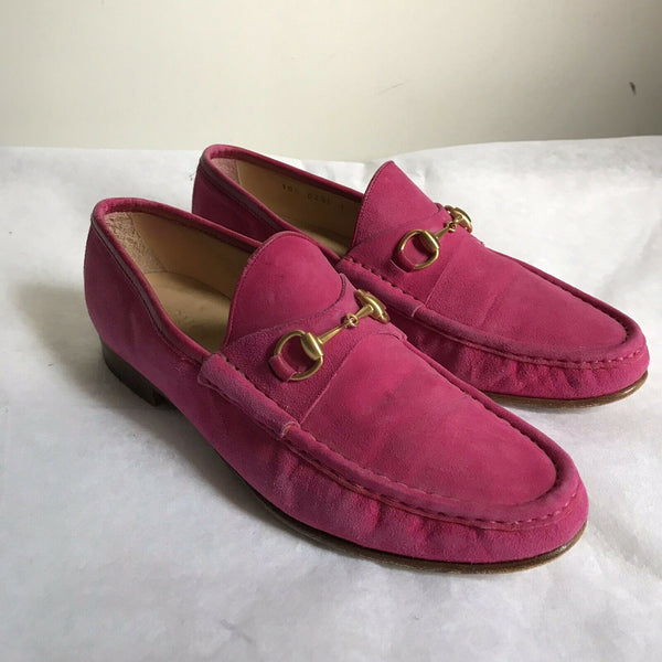 GUCCI Pink Suede Horsebit Loafers 8.5
