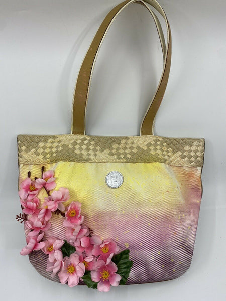 FENDI Vintage Customized large tote bag W/ Multi Color Ombre And Cherry Blossom