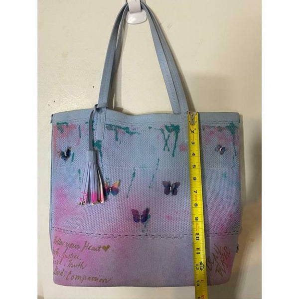 COLE HAAN Tote Bag Customized w Graffiti and Applique Blue Pink Tote Bag