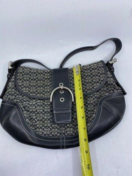 coach medium material black beige fabric shoulder bag