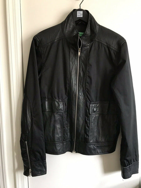 UNITED COLORS OF BENETTON Leather/ Nylon Vintage Jacket Small
