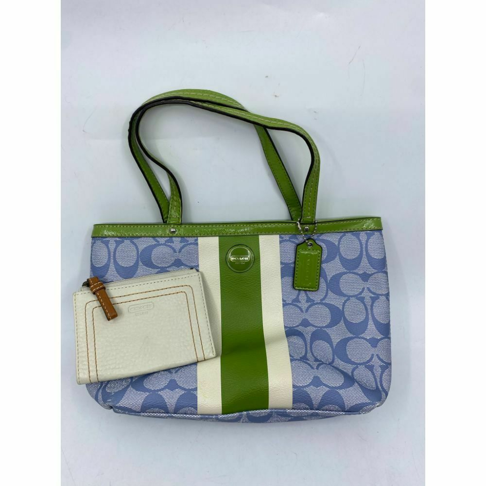 Coach Green Blue Coated Canvas Signature Handbag