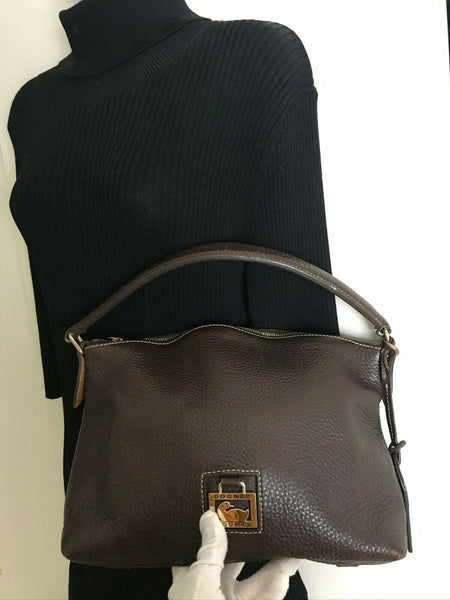 Dooney & Bourkek Brown Medium Leather Canvas Tote