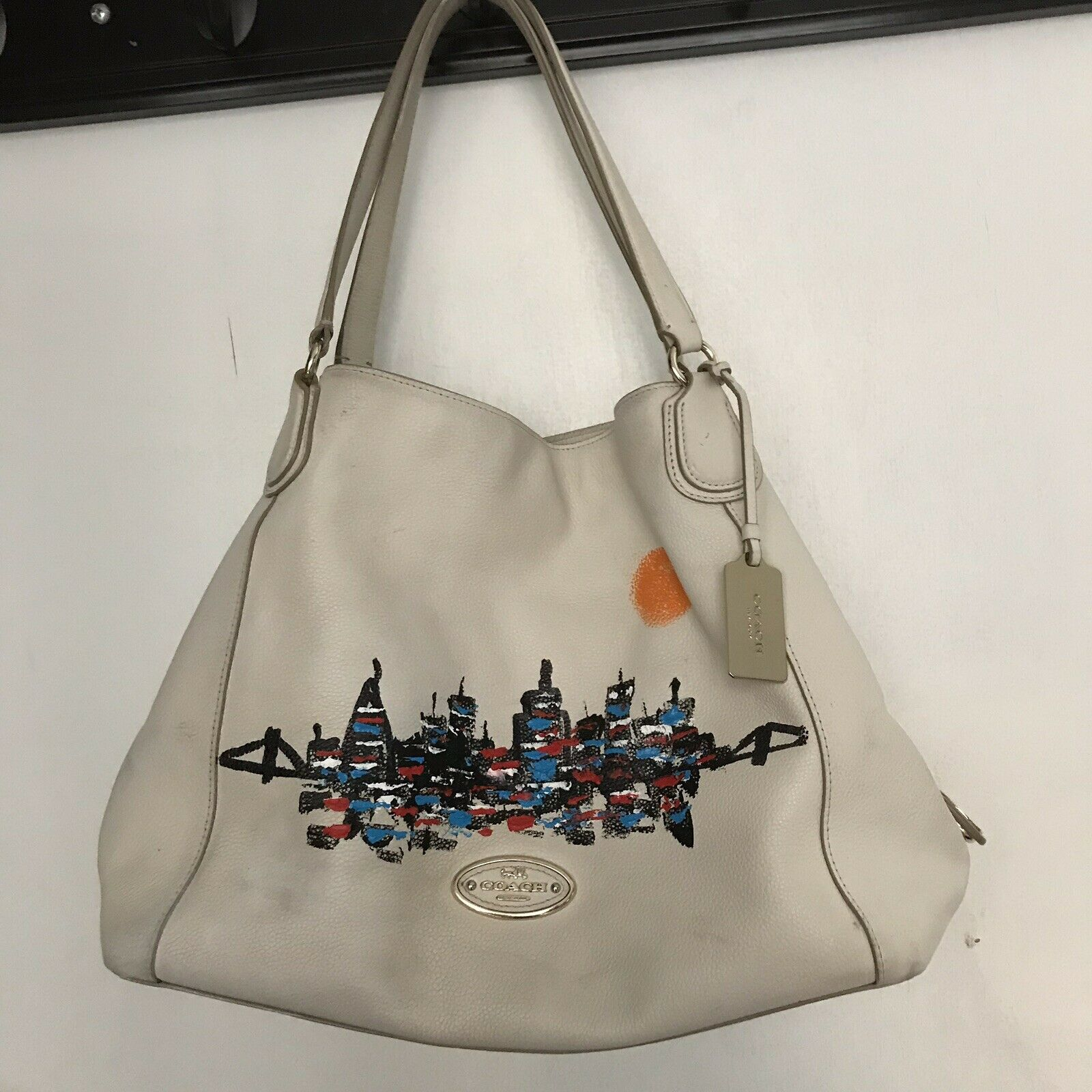 COACH Edie handbag W/ Hand Painted NYC Skyline