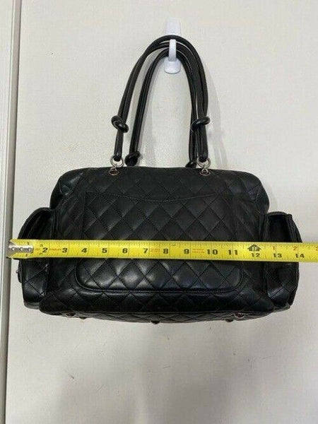 chanel reporter cambon black leather shoulder bag