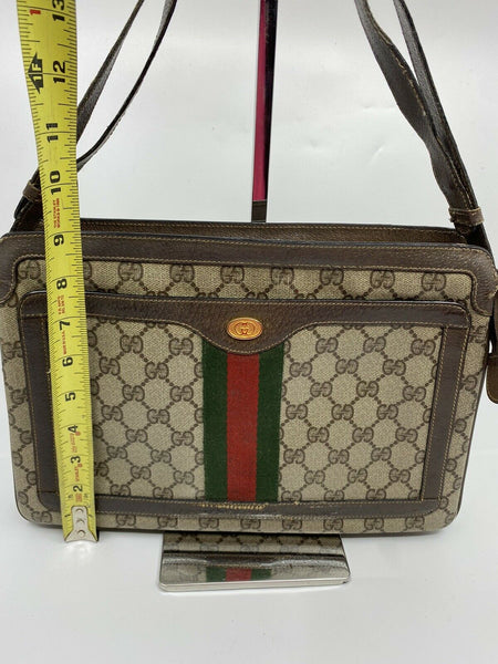 GUCCI Vintage  Brown Canvas/  Leather Shoulder Bag W Adjustable Strap
