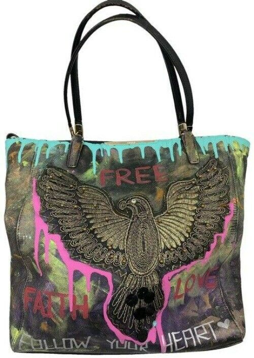 coach w hand customized by me street art and applique multi color tote