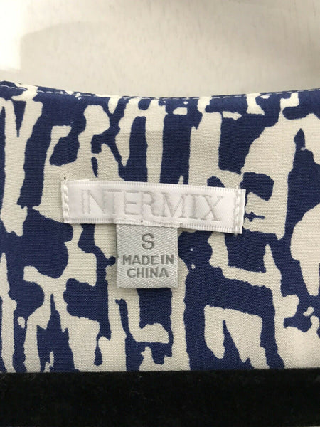 Intermix White And Blue Printed Dress Small