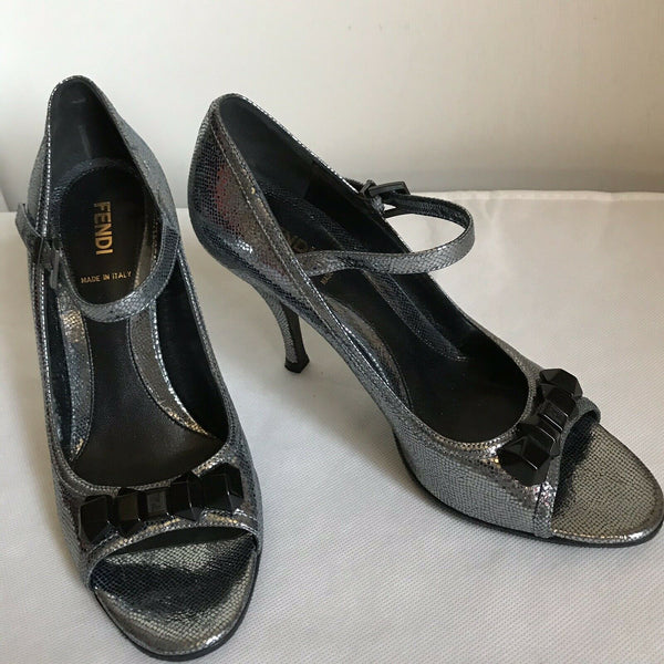 FENDI Pewter High Heel Peep Toe 37