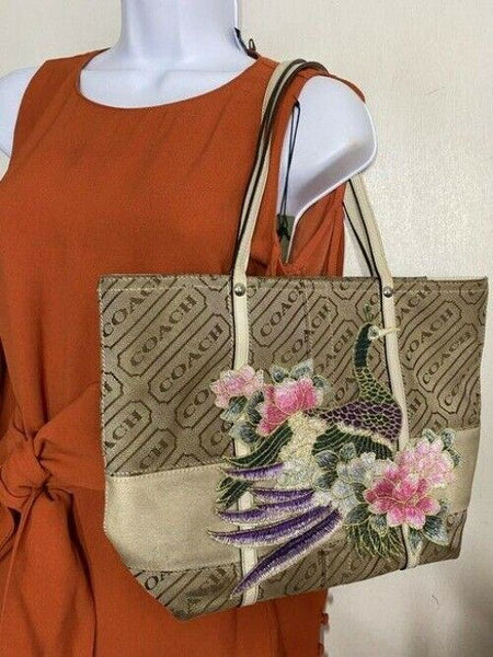 coach w customized by me w applique tan beige jacquard fabric tote