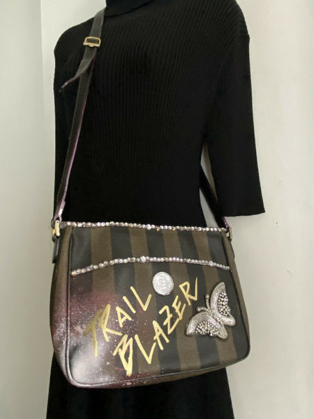FENDI Vintage customized W/ Rhinestones, Graffitti And patch applique