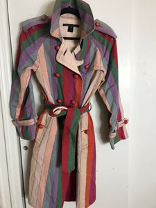 MARC JACOBS Multi Color Trench Coat Medium