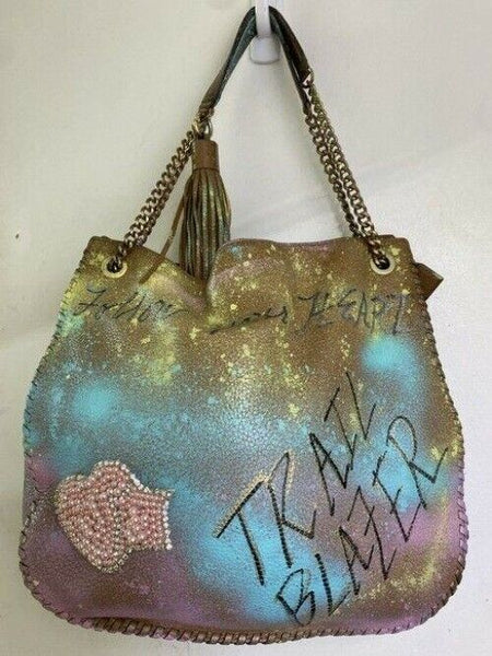 michael kors graffiti customized with multicolor shoulder bag