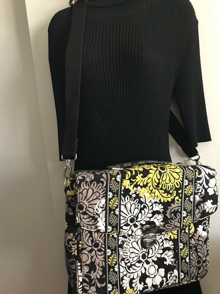 Vera Bradley Yellow/ Black Messenger/ Computer Bag