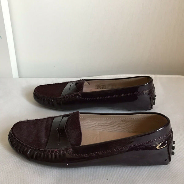 TOD's Burgundy Pony Hair And Patent Loafers Size 36