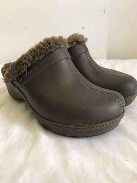 CROCS Brown Faux Fur Lined Clogs
