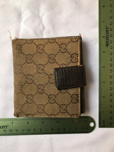 Gucci Beige Horsebit Vintage Web Gg Canvas Wallet