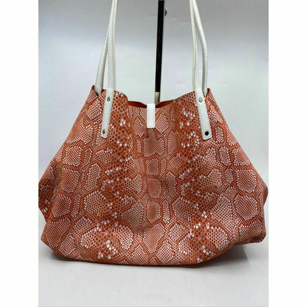 695 Tiffany and Co. Reversible Large Tote Bag Orange Suede and Snake Print Design