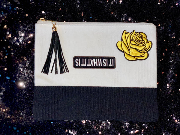 """It is what it is"" & yellow rose Wristlet"