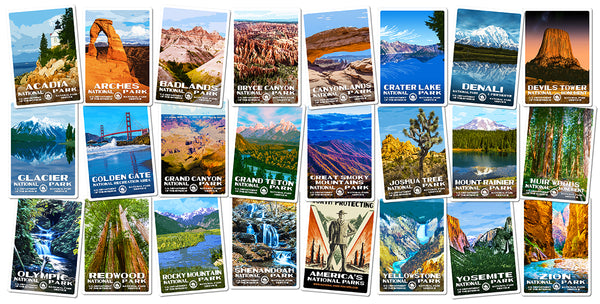 National Park Stickers | WPA-Style Images of your favorite National Parks