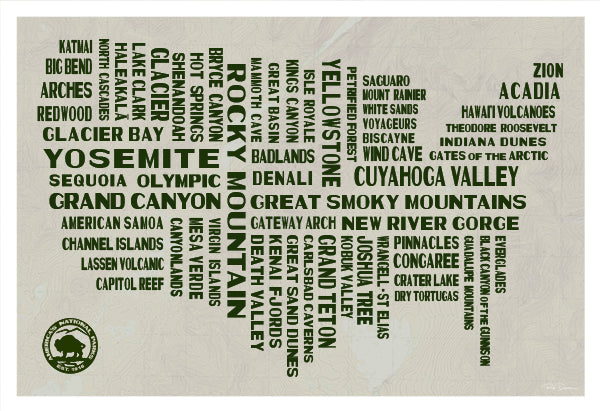 National Parks Typography Poster | National Park Posters