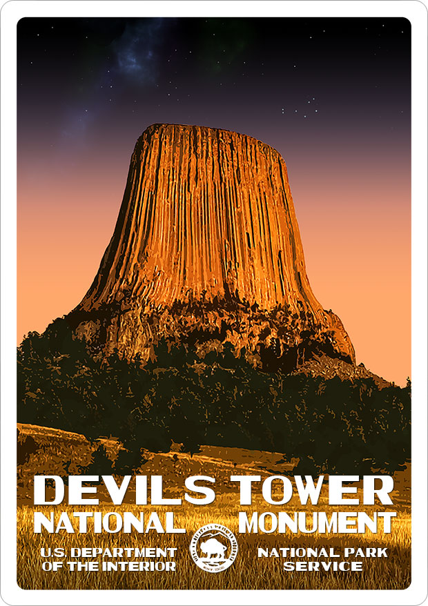 Devils Tower National Monument Sticker | National Park Posters