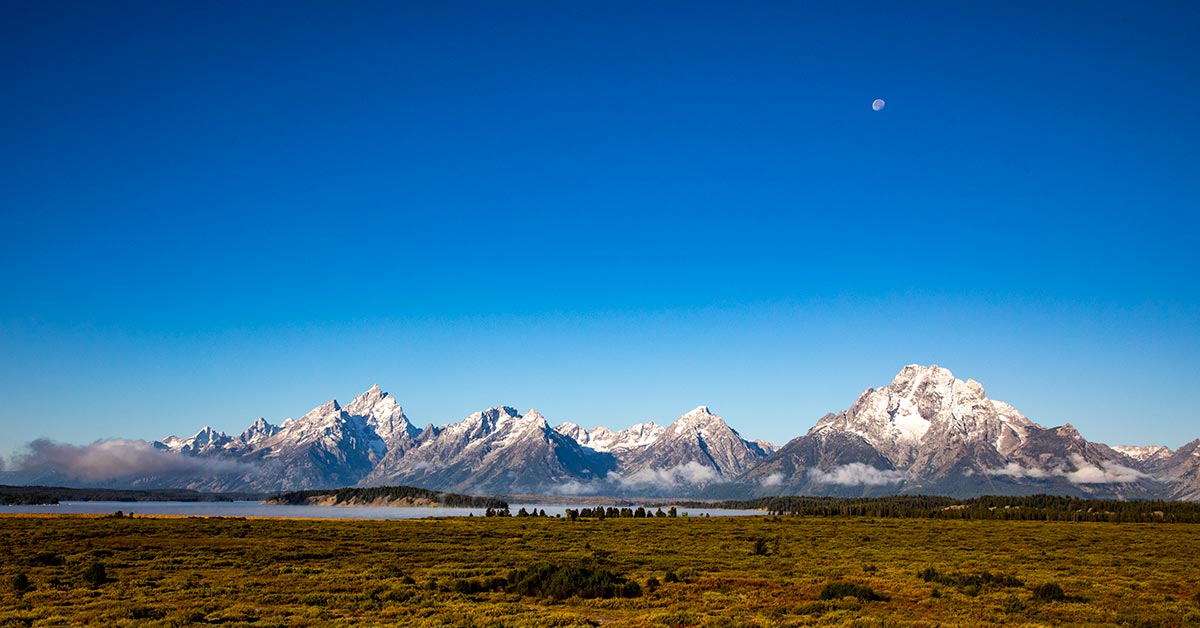 Grand Teton National Park, Moonset | National Park Posters