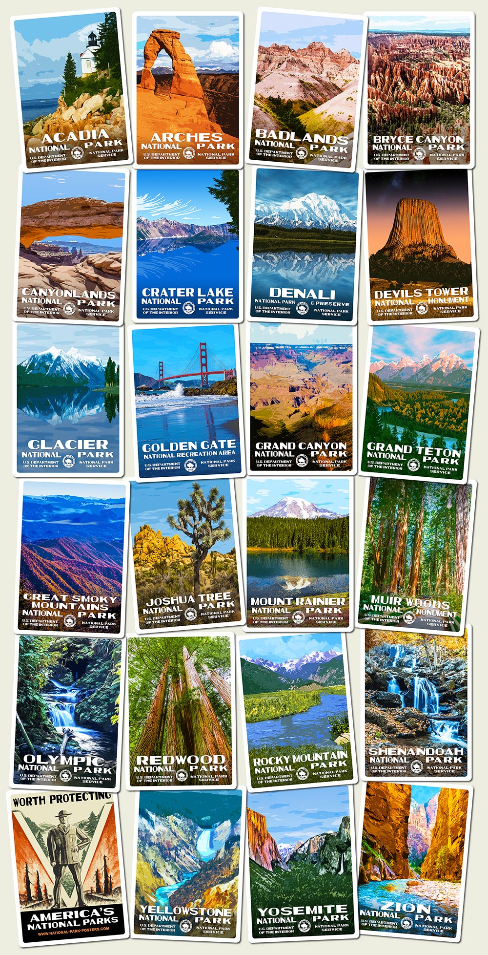 National Park Stickers | WPA-style stickers of your favorite National Parks