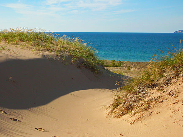 View of Lake Michigan over the dunes at Sleeping Bear Point Trail